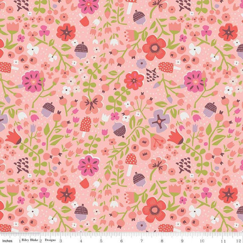 SALE Little Red in the Woods Floral Pink - Riley Blake Designs - Flowers Mushrooms Acorns -  Quilting Cotton Fabric - choose your cut