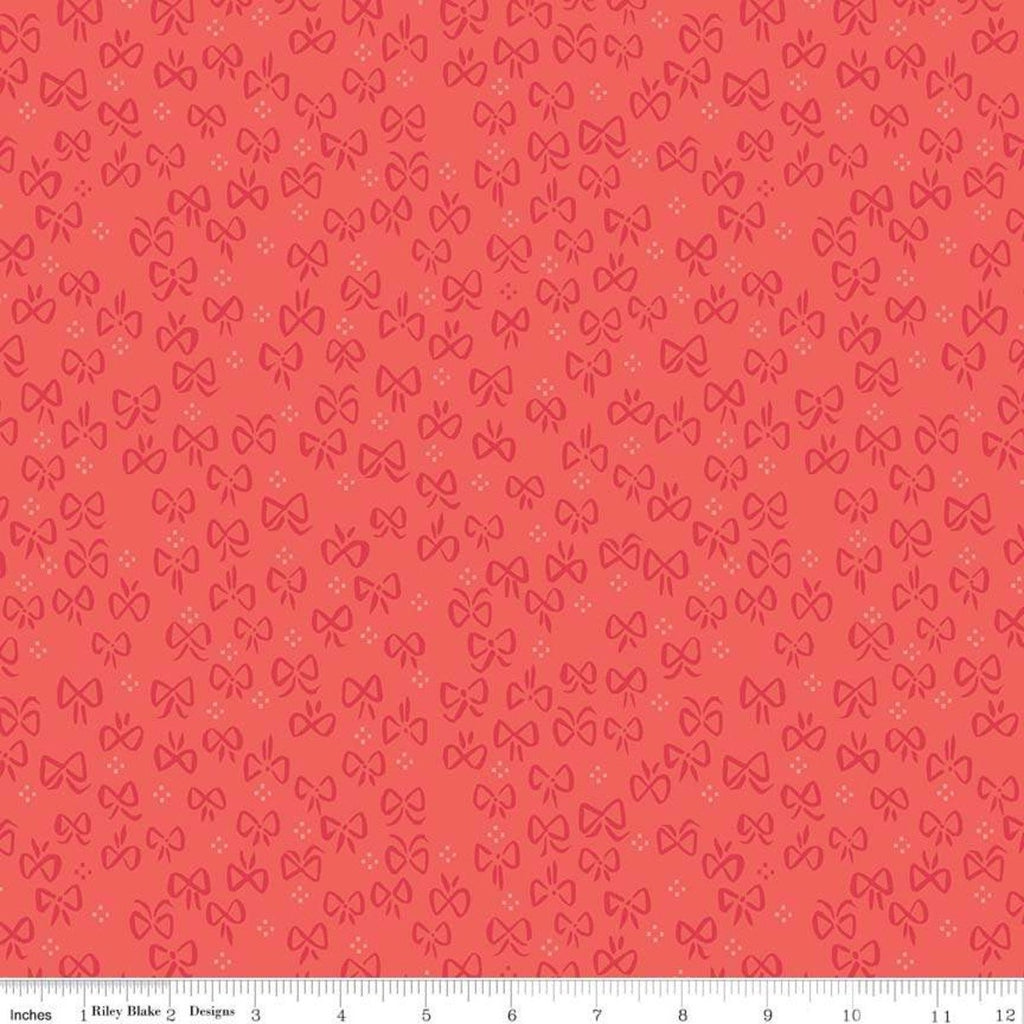 "Little Red in the Woods Bows Red - Riley Blake Designs - Bows Small Dot Clusters -  Quilting Cotton Fabric - 1 yard 24"" end of bolt piece"