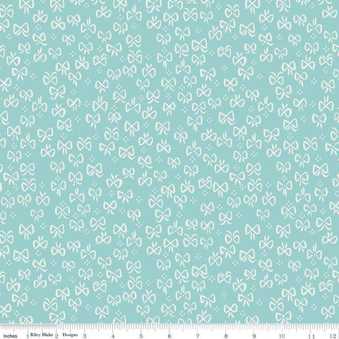 SALE Little Red in the Woods Bows Teal - Riley Blake Designs - Blue Bows Small Dot Clusters -  Quilting Cotton Fabric - choose your cut
