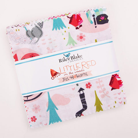 "SALE Little Red in the Woods Charm Pack 5"" Stacker Bundle - Riley Blake Designs - 42 piece Precut Pre cut - Quilting Cotton Fabric"