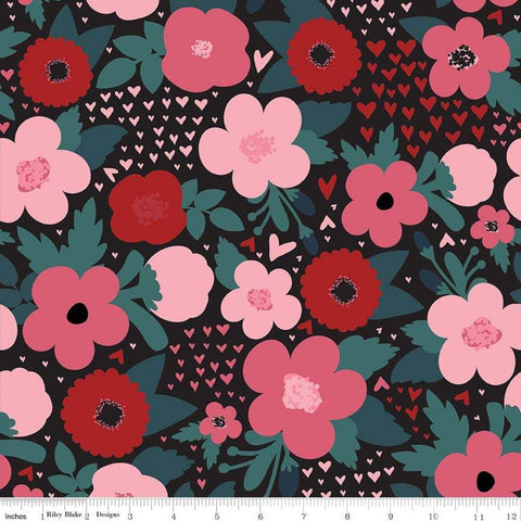 SALE Hello Sweetheart Floral Black - Riley Blake Designs - Flowers Hearts Pink Red -  Quilting Cotton Fabric