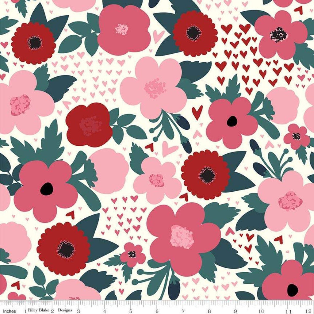 Hello Sweetheart Floral Cream - Riley Blake Designs - Flowers Hearts Pink Red -  Quilting Cotton Fabric