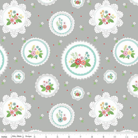 SALE Vintage Keepsakes Main Gray - Riley Blake Designs - Floral Flowers Doilies - Quilting Cotton Fabric