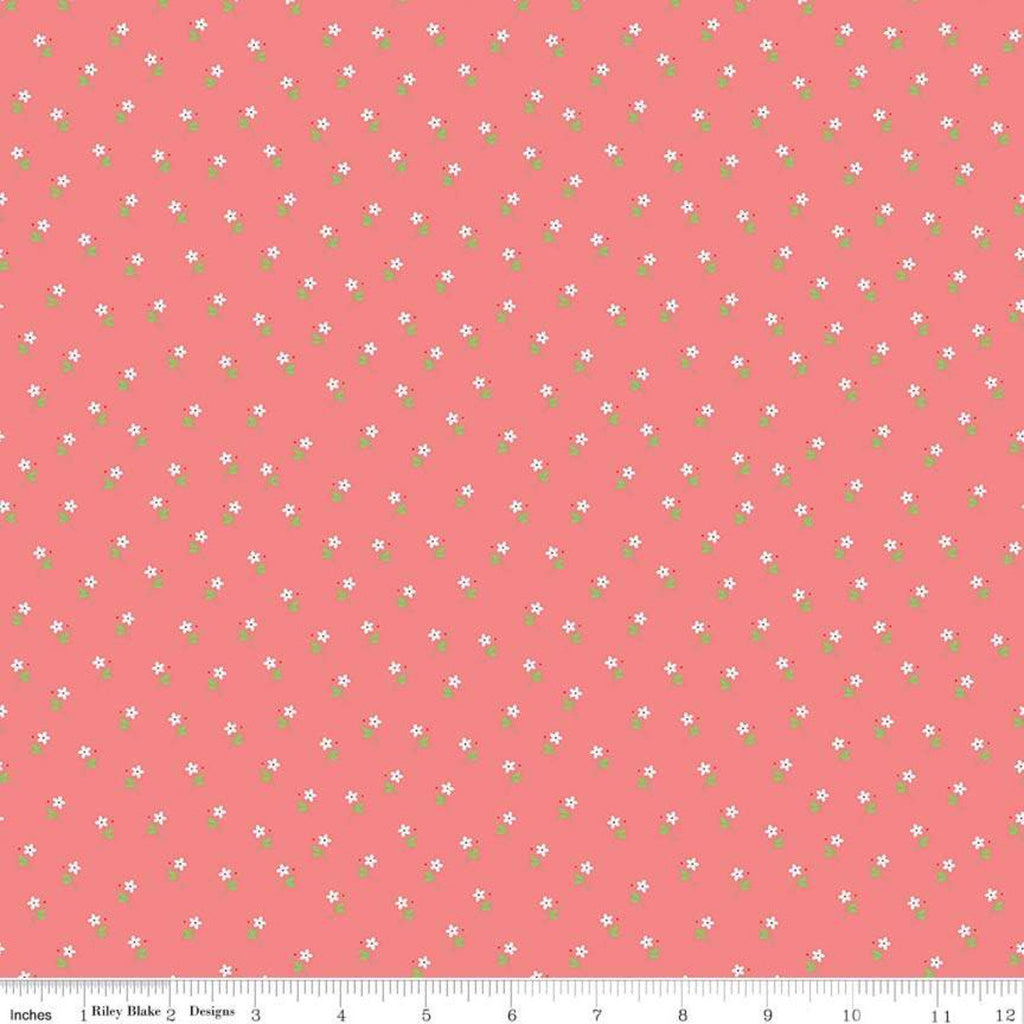 SALE Vintage Keepsakes Daisy Pink - Riley Blake Designs - Floral Flowers - Quilting Cotton Fabric