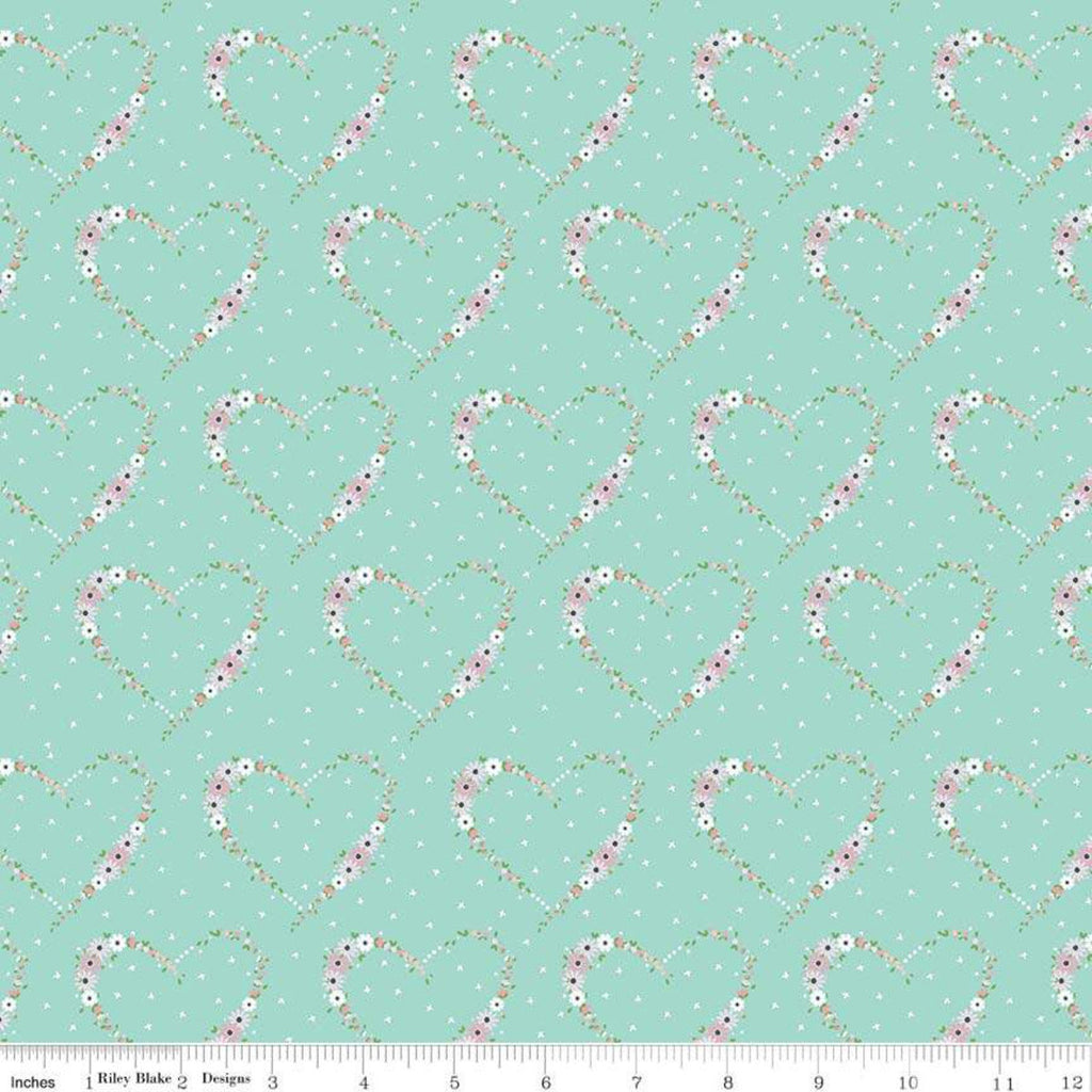 Vintage Keepsakes Heart Aqua - Riley Blake Designs - Blue Floral Flowers - Quilting Cotton Fabric