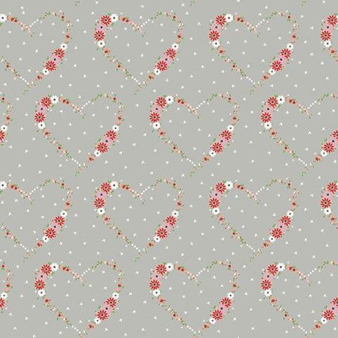Vintage Keepsakes Heart Gray - Riley Blake Designs - Floral Flowers - Quilting Cotton Fabric