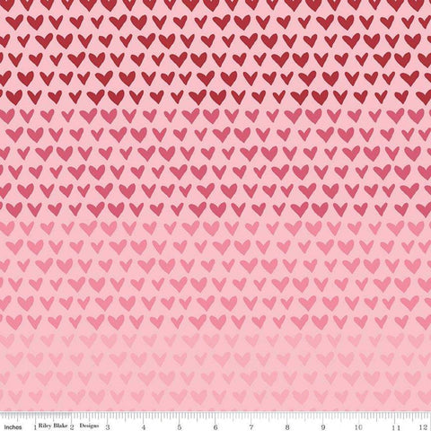 SALE Hello Sweetheart Gradient Pink - Riley Blake Designs - Red Pink Hearts -  Quilting Cotton Fabric