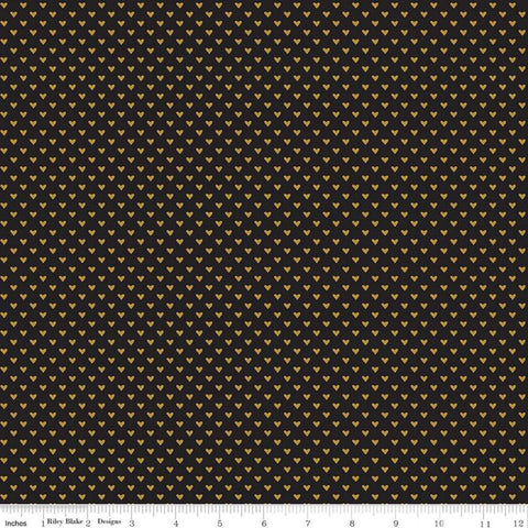 SALE Hello Sweetheart Mini Hearts Black SPARKLE - Riley Blake Designs - Gold Hearts Sparkle - Quilting Cotton Fabric