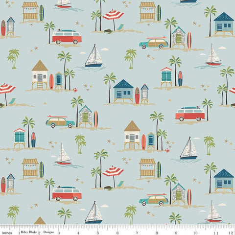 Offshore 2 Main Blue - Riley Blake Designs - Surfboards Cars Beach Shacks Sailboats - Quilting Cotton Fabric