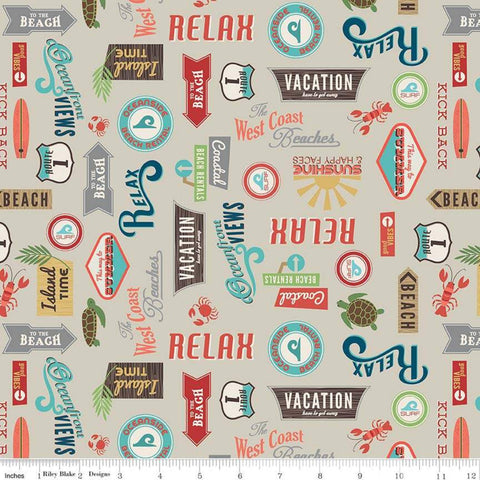 "Offshore 2 Retro Sign Tan - Riley Blake Designs - Beach Signs Beige Text - Quilting Cotton Fabric - 32"" end of bolt piece"