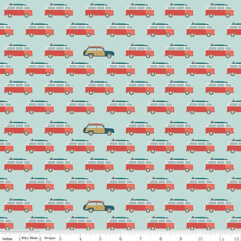 Offshore 2 Wagon Blue - Riley Blake Designs - Station Wagons Vans Retro Beach - Quilting Cotton Fabric
