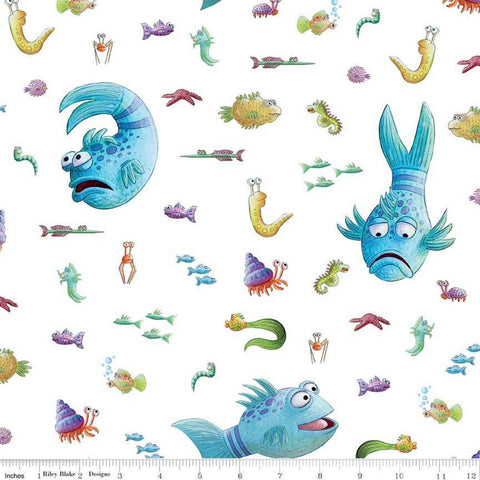 SALE The Pout-Pout Fish Main White - Riley Blake Designs - Underwater Friends - Quilting Cotton Fabric