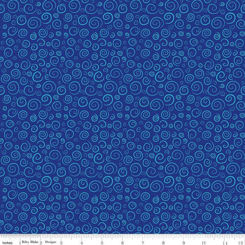 SALE The Pout-Pout Fish Swirls Blue - Riley Blake Designs - Quilting Cotton Fabric