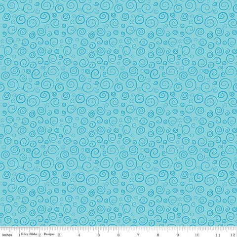SALE The Pout-Pout Fish Swirls Aqua - Riley Blake Designs - Blue Quilting Cotton Fabric