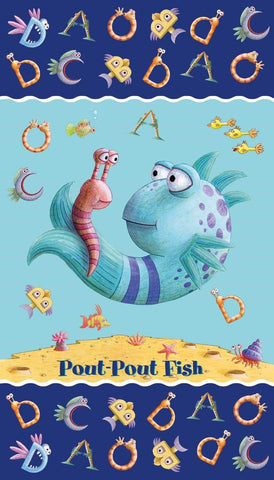The Pout-Pout Fish Panel Multi - Riley Blake Designs - Alphabet Friends - Quilting Cotton Fabric