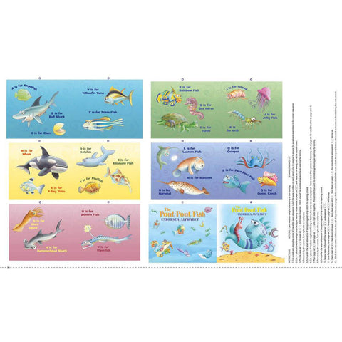 The Pout-Pout Fish Undersea Alphabet Soft Book Panel Multi - Riley Blake Designs - Alphabet Friends - Quilting Cotton Fabric