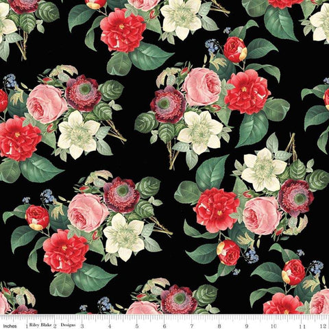 In Bloom Main Black - Riley Blake Designs - Floral - Quilting Cotton Fabric
