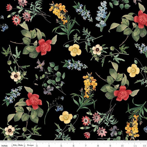 "SALE In Bloom Floral Black - Riley Blake Designs - Flowers - Quilting Cotton Fabric - 1 yard 35"" end of bolt piece"