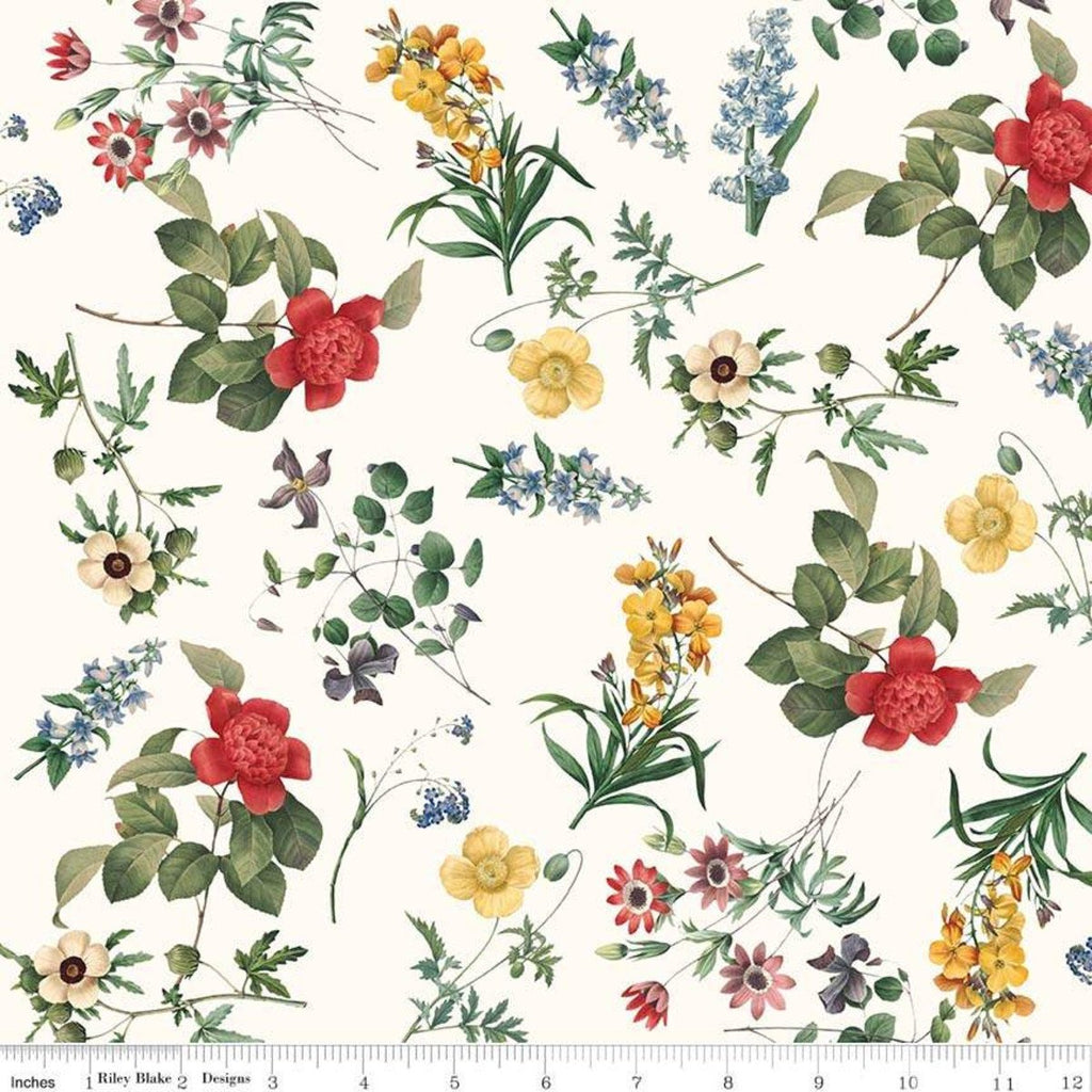 In Bloom Floral Cream - Riley Blake Designs - Flowers - Quilting Cotton Fabric