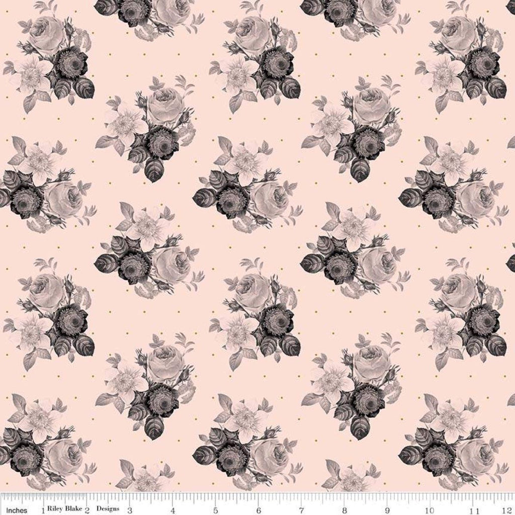 In Bloom Botanical Pink SPARKLE - Riley Blake Designs - Gray Gold Metallic Floral Flowers - Quilting Cotton Fabric