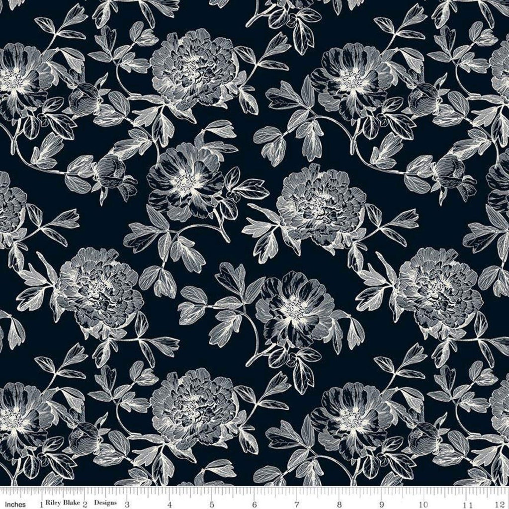 SALE In Bloom Tonal Black - Riley Blake Designs - Floral Flowers - Quilting Cotton Fabric