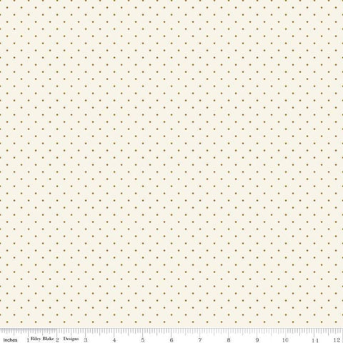 In Bloom Mini Dot Cream SPARKLE - Riley Blake Designs - Pin Dot Gold Metallic - Quilting Cotton Fabric