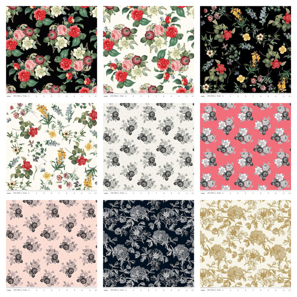 "SALE In Bloom Layer Cake 10"" Stacker Bundle - Riley Blake Designs - 42 piece Precut Pre cut - Gold Sparkle - Quilting Cotton Fabric"