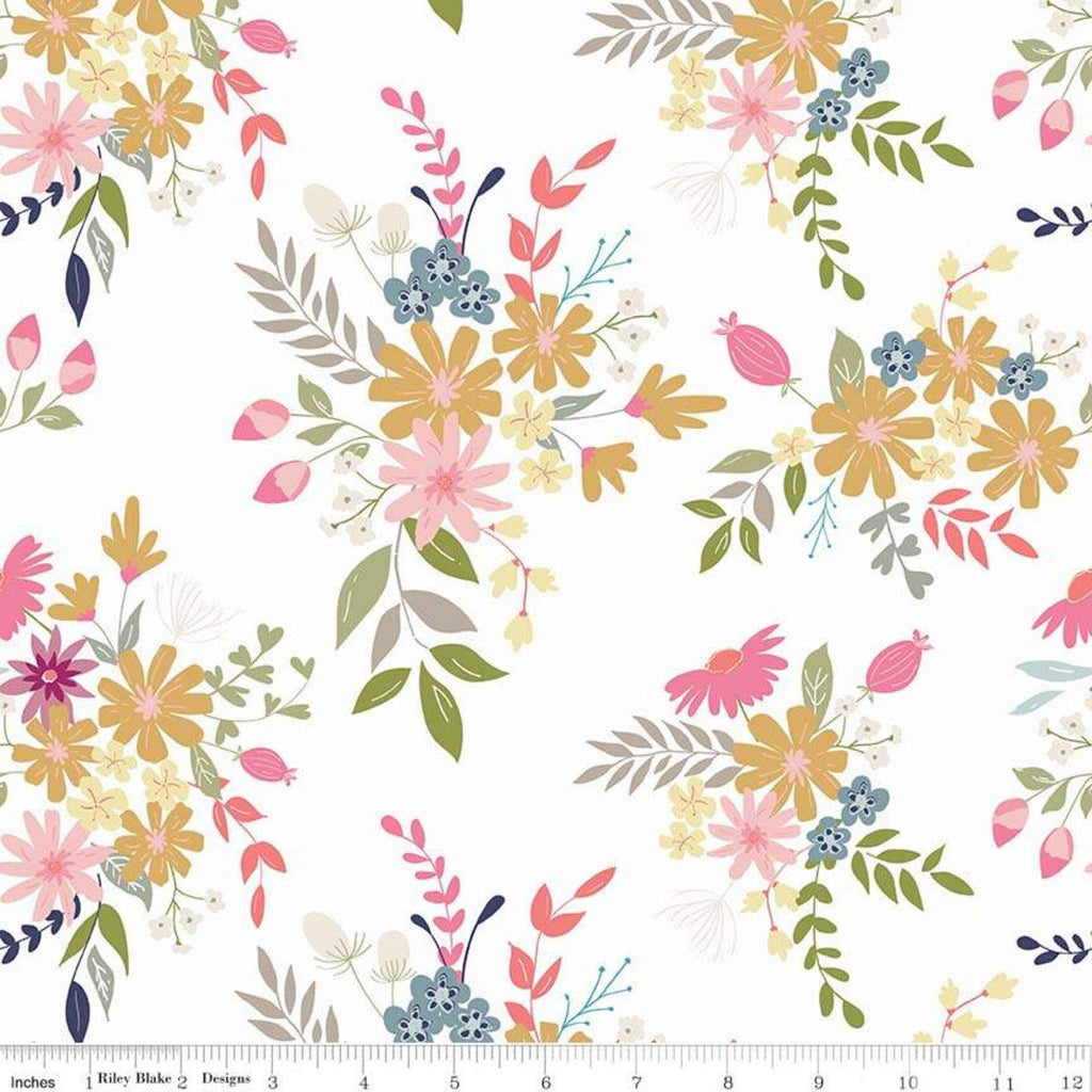 In the Meadow Main White - Riley Blake Designs - Floral Flowers - Quilting Cotton Fabric