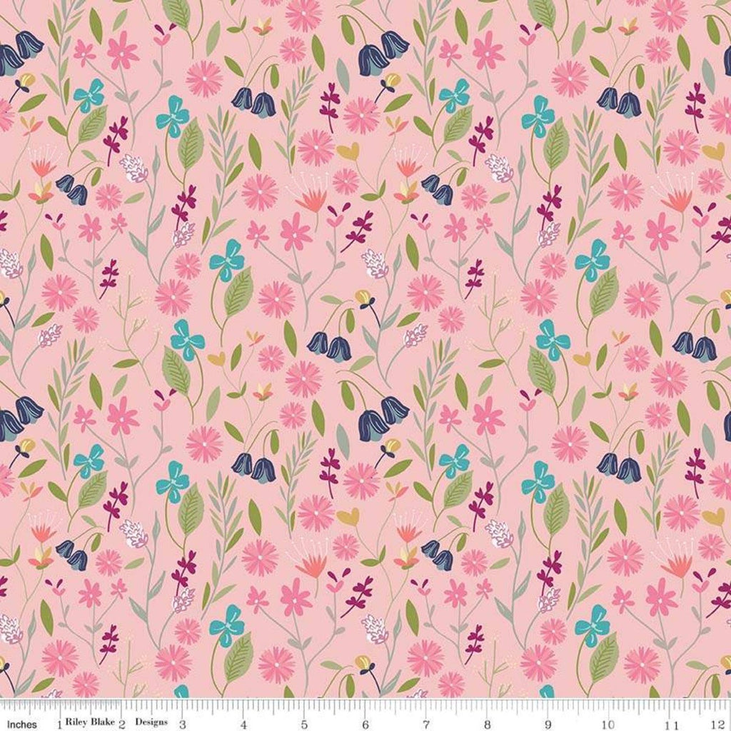 SALE In the Meadow Flower Field Pink - Riley Blake Designs - Floral Flowers - Quilting Cotton Fabric