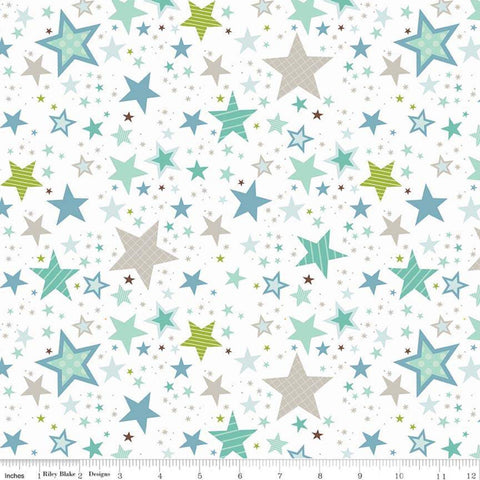 Sweet Baby Boy Stars White - Riley Blake Designs - Quilting Cotton Fabric - choose your cut