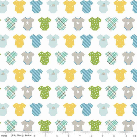 SALE Sweet Baby Boy Onesies White - Riley Blake Designs - Quilting Cotton Fabric - choose your cut