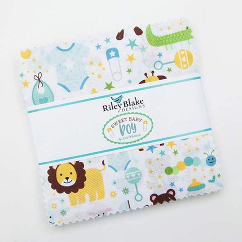 "SALE Sweet Baby Boy Charm Pack 5"" Stacker Bundle - Riley Blake Designs - 42 piece Precut Pre cut - Quilting Cotton Fabric"