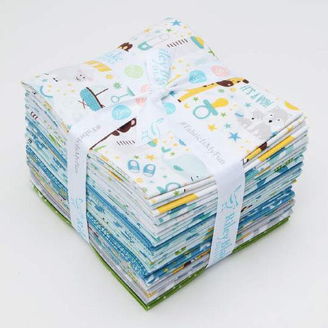 SALE Sweet Baby Boy Fat Quarter Bundle 18 pieces - Riley Blake Designs - Pre Cut Precut - Quilting Cotton Fabric