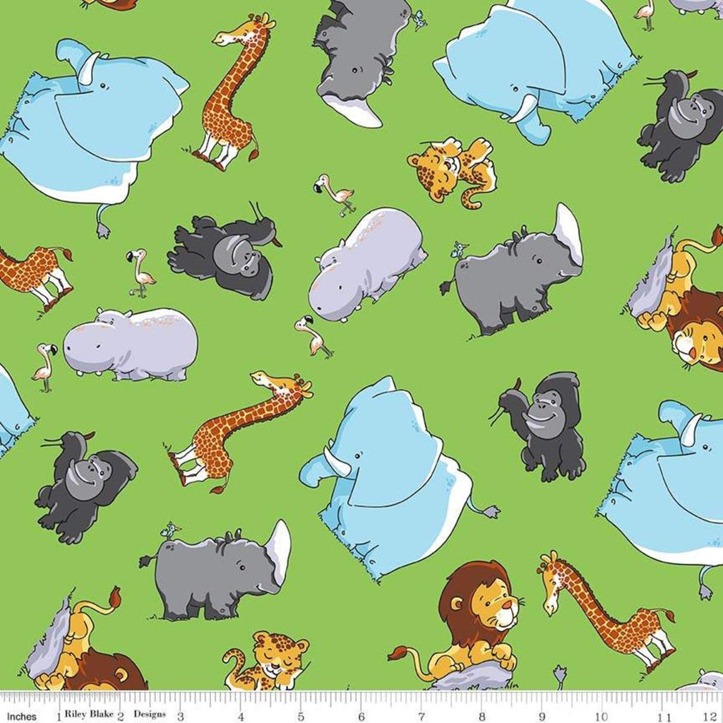 Tarzanimals Animals Green - Riley Blake Designs - Jungle Animals - Quilting Cotton Fabric