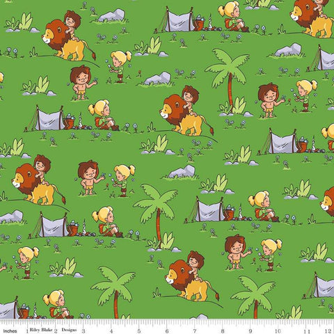 Tarzanimals Tarzan and Jane Green - Riley Blake Designs - Jungle Animals Lions - Quilting Cotton Fabric