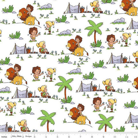 Tarzanimals Tarzan and Jane White - Riley Blake Designs - Jungle Animals Lions - Quilting Cotton Fabric