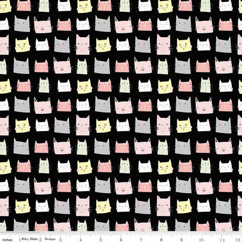 Meow and Forever Heads Black - Riley Blake Designs - Cats Kittens -  Quilting Cotton Fabric