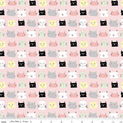 Meow and Forever Heads Pink - Riley Blake Designs - Cats Kittens -  Quilting Cotton Fabric