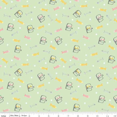 SALE Meow and Forever Fish Green - Riley Blake Designs - Fish Bones Sardines -  Quilting Cotton Fabric