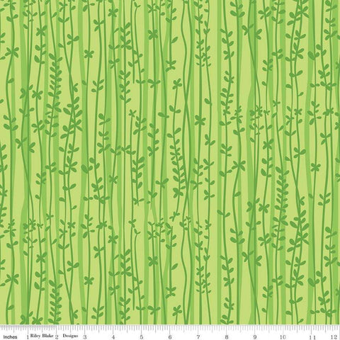 Tarzanimals Vines Green - Riley Blake Designs - Jungle Floral Leaves - Quilting Cotton Fabric