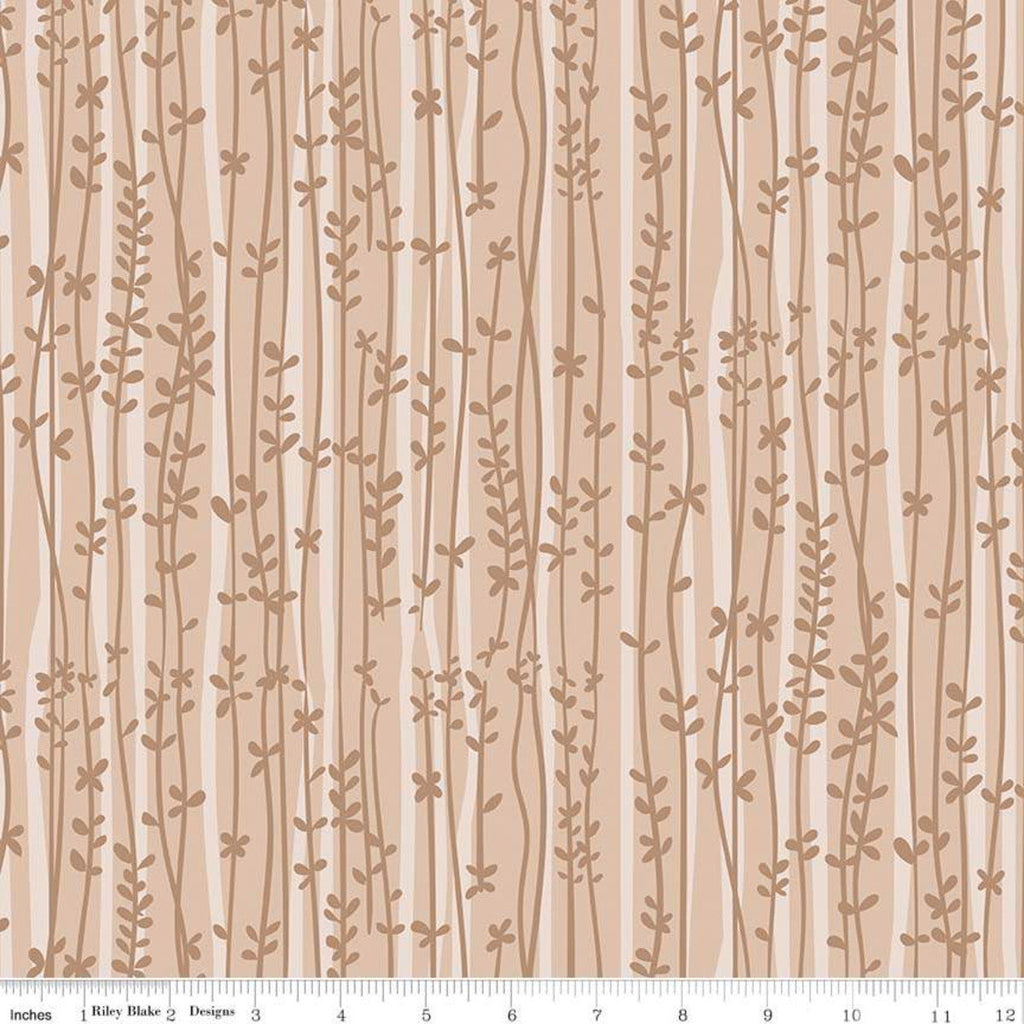 Tarzanimals Vines Tan - Riley Blake Designs - Brown Jungle Floral Leaves - Quilting Cotton Fabric