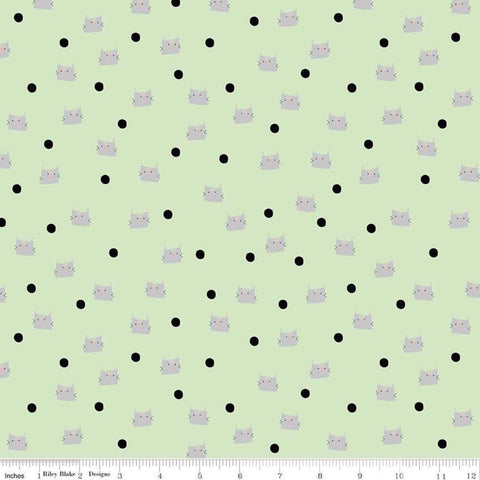 Meow and Forever Dots Green - Riley Blake Designs - Cat Kitten Polka Dots -  Quilting Cotton Fabric