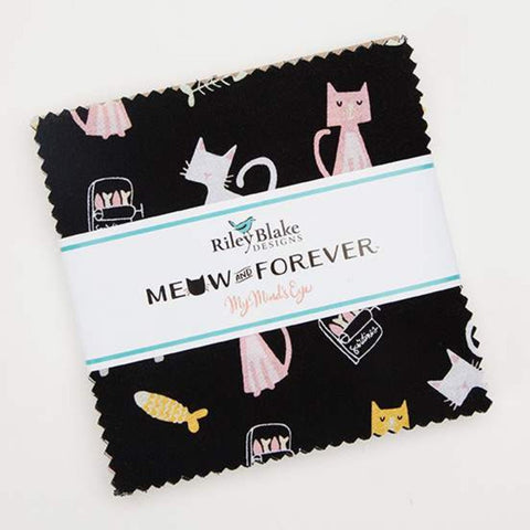 "Meow and Forever Charm Pack 5"" Stacker Bundle - Riley Blake Designs - 42 piece Precut Pre cut - Cat Kitten - Quilting Cotton Fabric"