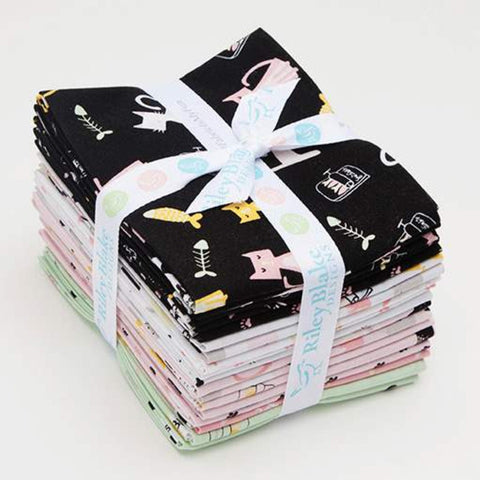 Meow and Forever Fat Quarter Bundle 18 pieces - Riley Blake Designs - Pre Cut Precut - Cat Kitten - Quilting Cotton Fabric