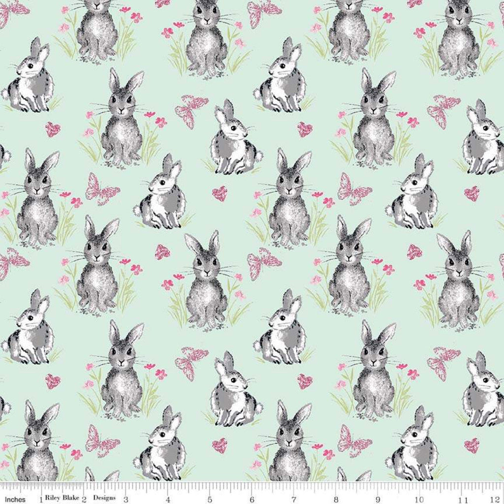 Pretty Bunnies Novelty Mint by Riley Blake Designs - Easter Green - Quilting Cotton Fabric