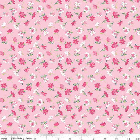 SALE Flowers Novelty Pink by Riley Blake Designs - Easter Floral - Quilting Cotton Fabric - choose your cut