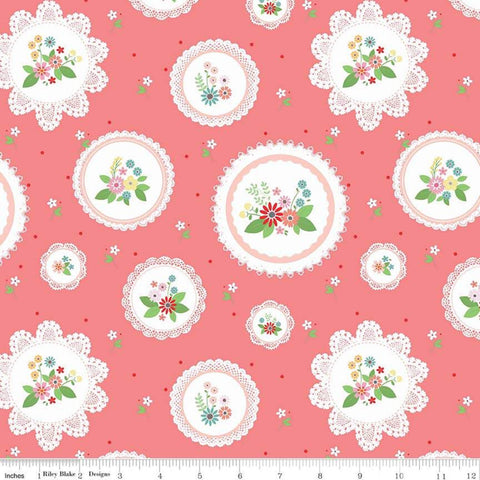 Vintage Keepsakes Main Pink - Riley Blake Designs - Floral Flowers Doilies - Quilting Cotton Fabric - end of bolt pieces