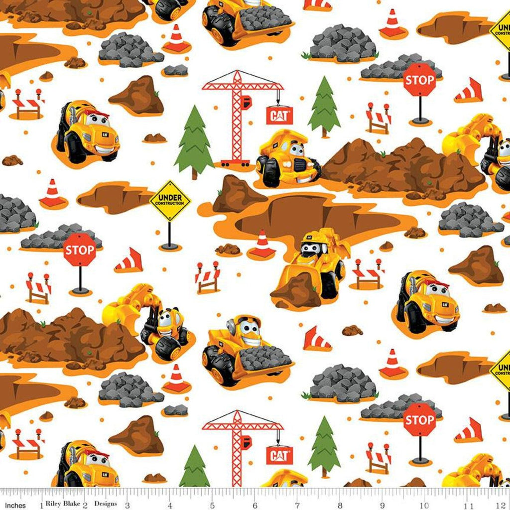 SALE CAT Buildin' Crew Main White - Riley Blake Designs - Construction Vehicles Work Excavation - Quilting Cotton Fabric