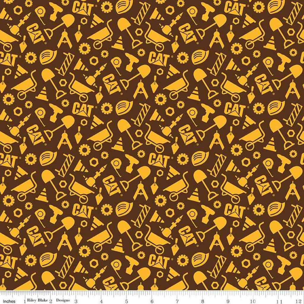 SALE CAT Buildin' Crew Construction Set Brown - Riley Blake Designs - Construction Tools - Quilting Cotton Fabric