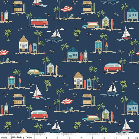 Offshore 2 Main Navy - Riley Blake Designs - Blue Surfboards Beach Shacks Sailboats - Quilting Cotton Fabric